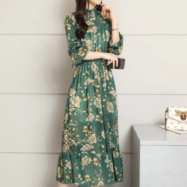 Váy hoa nhí dáng dài hàng cao cấp