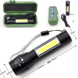 Full Hộp Đèn Pin MINI Siêu Sáng Cao Cấp Có Zoom Xa Gần