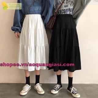 hot trend chân váy nữ voan tầng midi mt1010 chanvaynu màu đen, trắng freesize phong cách thời trang sành điệu, tôn dáng