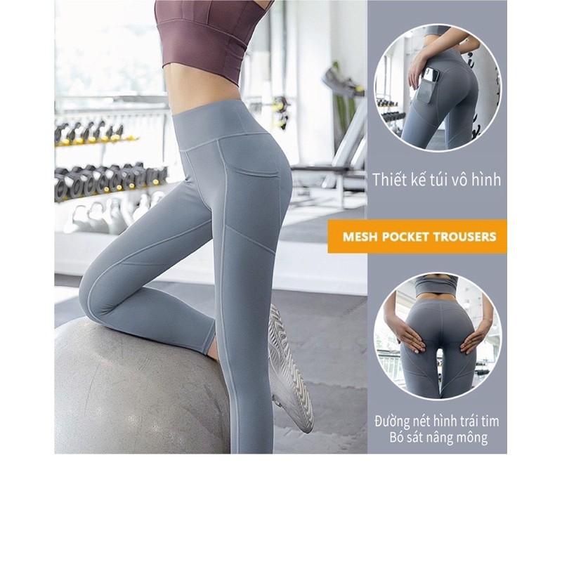 Mặc gì đẹp: Thoáng mát với Quần tập dài Gym MTCK nữ cạp lưng cao,có túi, nâng mông co giãn 4 chiều, thoáng mát, quần tập Yoga, Gym, Zumba, Aerobic