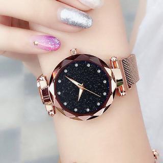 Đồng hồ nữ Ulzzang mặt lấp lánh khóa nam châm thông minh thép không gỉ