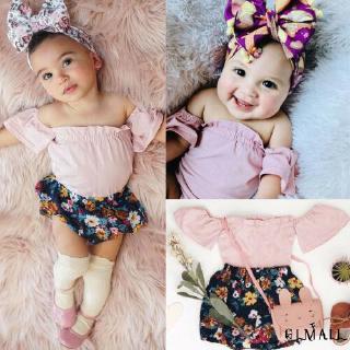 ➤GMLToddler Infant Baby Girl Summer Clothes Floral Clothing 2Pcs Set