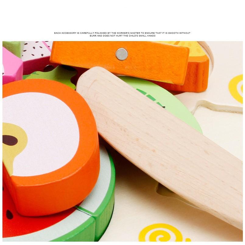 Bộ cắt trái cây-rau củ gắn nam châm bằng gỗ_BabyDragon