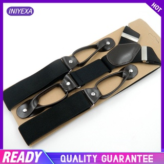 Men's Y-Back Wide Button End Elastic Adjustable Suspenders for Men Dress Big and Tall Tuxedo Suspenders