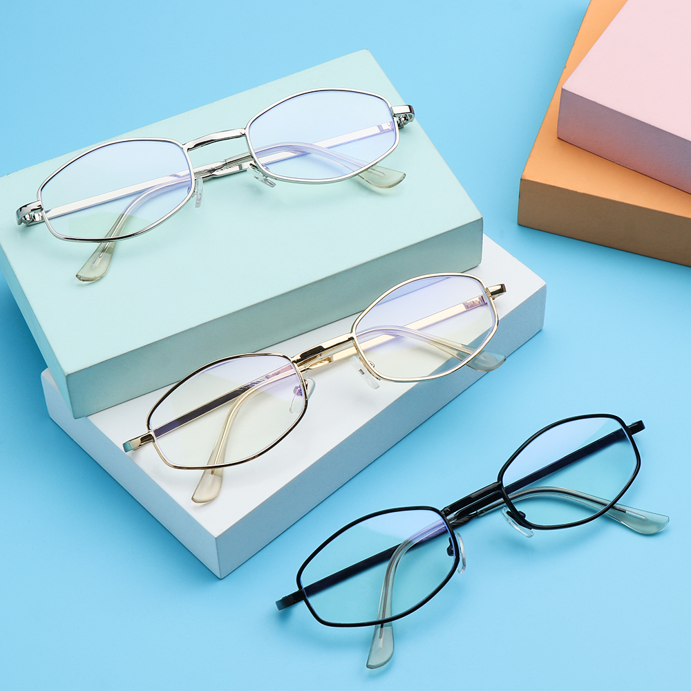 🌱FOREVER🌱 Women Men Anti-Blue Light Eyeglasses Computer Eye Protection Metal Glasses Portable Fashion Polygon Vintage Ultra Light Frame/Multicolor