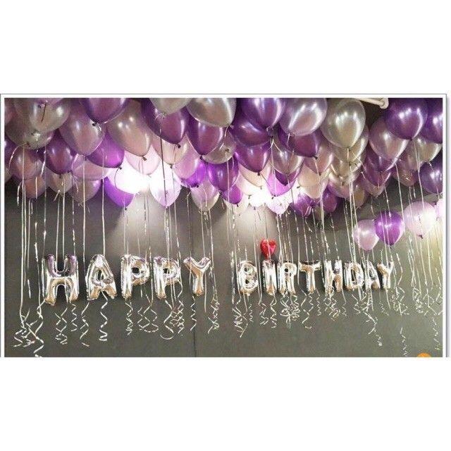 Set Bóng Trang Trí Sinh Nhật Gồm Chữ Happy Birthday Và 50 Bóng Nhũ
