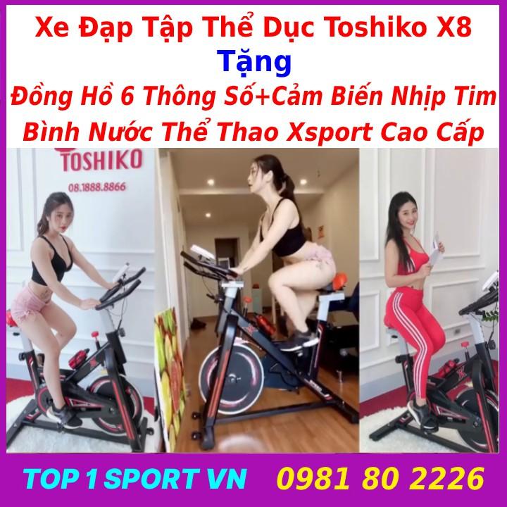 Xe đạp tập gym thể dục thể thao toshiko x8 tặng bình nước + đồng hồ nhịp tim + khung yoga cột sống, bảo hành 36 tháng