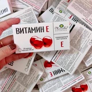 Hộp vỉ vitamin e 270mg đỏ của Nga (20viên)