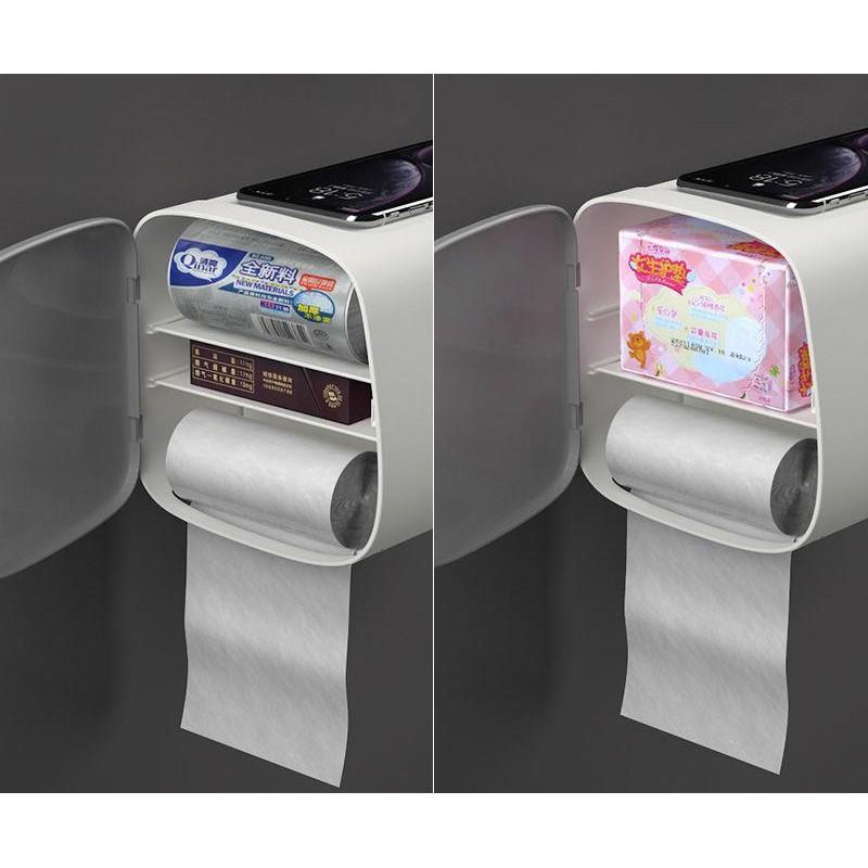 Hộp đựng giấy vệ sinh đa năng loại hình chữ nhật chống thấm nước, hộp đựng giấy tiện ích FAMAHA