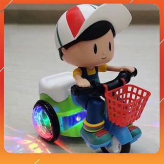 [Hàng chuẩn] Bộ đồ chơi em bé đạp xe quay nhạc xoay 360 độ