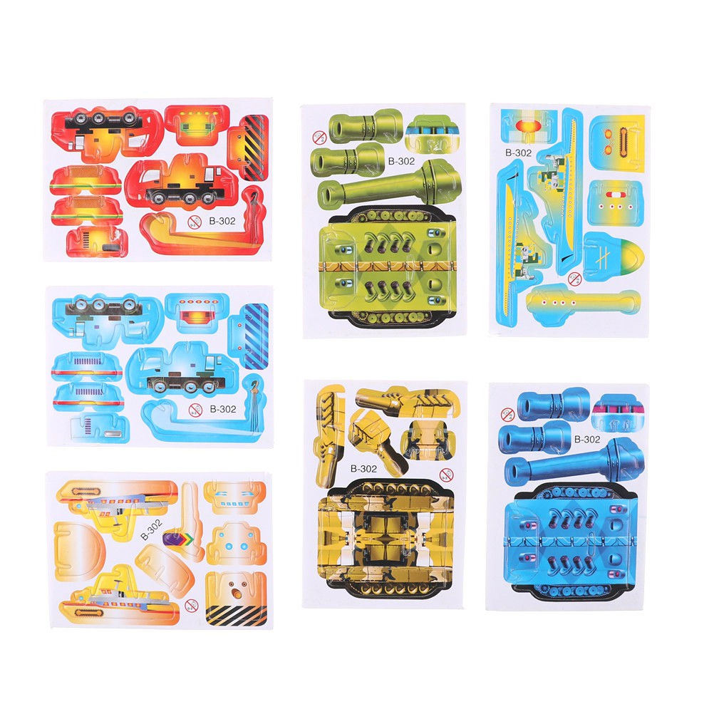 Specialhour 5Sets Paper Tank Engineering 3D Puzzles Jigsaw Toys For Kids DIY Craft