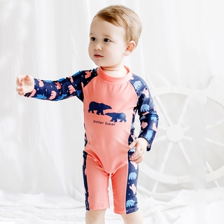 Children's Long Sleeve Swimwear Boys and Girls Baby One-piece Swimsuit