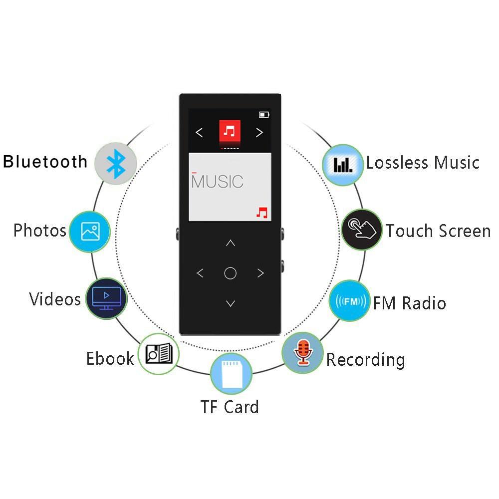 Máy nghe nhạc Benjie K8 Plus 2019 bản 8Gb có Bluetooth 4.1 có loa ngoài kèm quà tặng