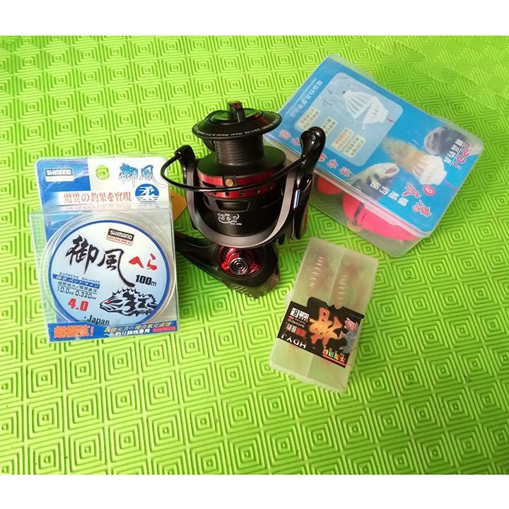 Máy câu Yumoshi 6000 + Dây shimano + com bo 4 lưỡi câu lancer