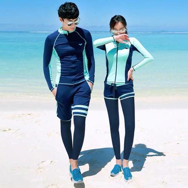 Đồ bơi dài tay nam nữ áo khoác quần dài xanh mint chất cực đẹp