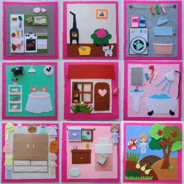 Sách vải ngôi nhà búp bê 9 trang – SV Doll House (hình thật 100%)