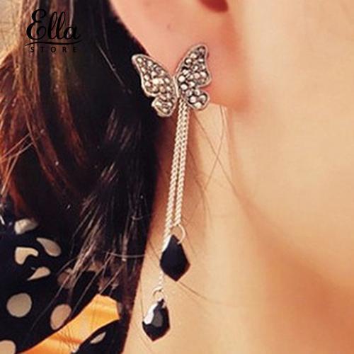 Bông tai dáng dài hình bươm bướm phối tua rua xinh xắn thời trang cho nữ
