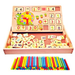 Bảng gỗ cho bé học toán, xem giờ