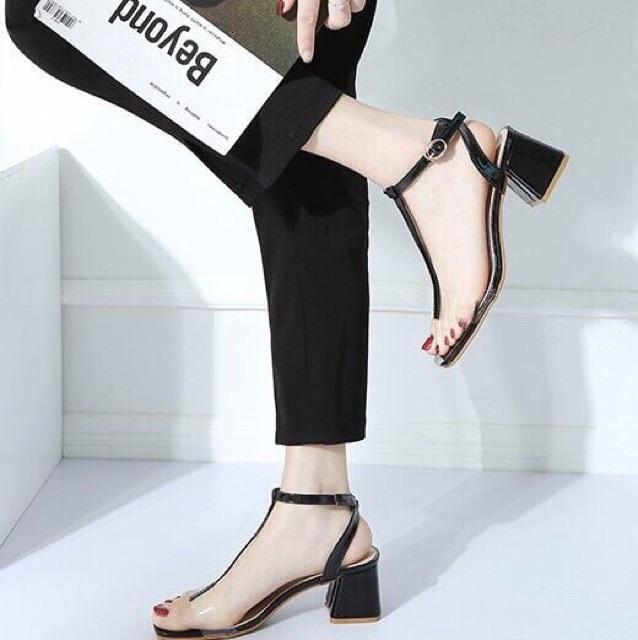 Giày cao gót trong dây chữ T gót vuông 5 phân