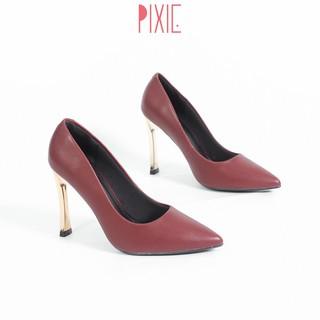 Giày Cao Gót 9cm Gót Vàng Mảnh Màu Đỏ Mận Pixie X463 thumbnail
