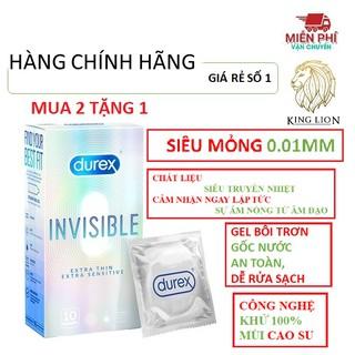 [BAO CAO SU MỎNG NHẤT THẾ GIỚI] Bao cao su DUREX INVISIBLE mỏng, an toàn, uy tín ( 10bao 1 hộp bcs) thumbnail