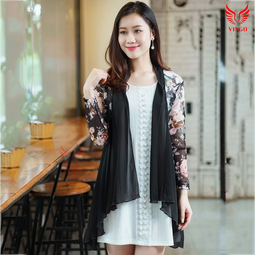 Áo khoác kimono đen họa tiết hoa dịu dàng thương hiệu Vingo