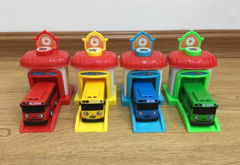 Tayo The Little Garasi 4 Pcs In 1 Set Doll Bus Toys Car 玩具 Kereta Mainan Control Decoration