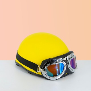 Mũ bảo hiểm nửa đầu màu trơn - khoá đỏ cao cấp (tặng kèm lưỡi trai) thumbnail