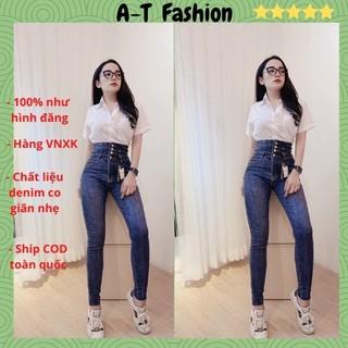 Quần Jean Nữ Lưng Cao ❤️FREESHIP❤️ Quần Bò Nữ Mẫu Mới Ôm Dáng Xinh Xắn Thời Trang Chuẩn Hàng Shop A-T Fashion - QJNU34