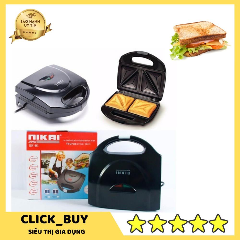 [LOẠI TỐT] Máy Nướng Bánh Mì Sandwich NiKai Cao Cấp - BẢO HÀNH 1 NĂM (MÃ CONTNIKAI - GIẢM 5K ĐƠN TỪ 199K)