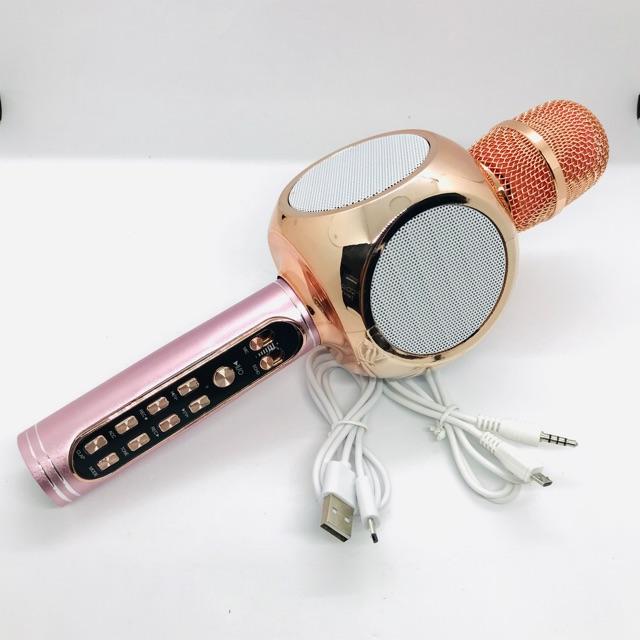 Míc Karaoke Bluetooth/Mic hát MMD YS90 -Tích hợp loa trên thân míc không dây, Siêu bass, Bắt giọng chỉnh tone, Ghi âm
