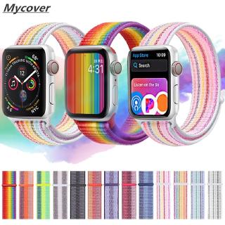 Dây đai đeo đồng hồ Apple Watch Serise 6 SE 5 4 3 2 1 kích thước 44mm 40mm 42mm 38mm bằng nylon họa tiết cầu vồng thumbnail