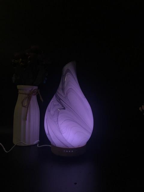 Máy khuếch tán phun sương tinh dầu thủy tinh nghệ thuật cao cấp tặng kèm tinh dầu sả chanh 10ml và bạc hà 10ml
