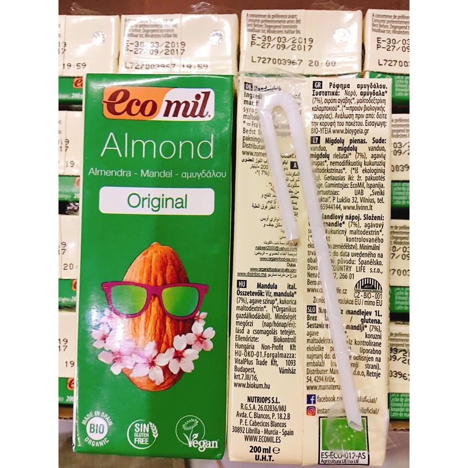 Sữa nước hạnh nhân nguyên chất hữu cơ ecomil 200ml