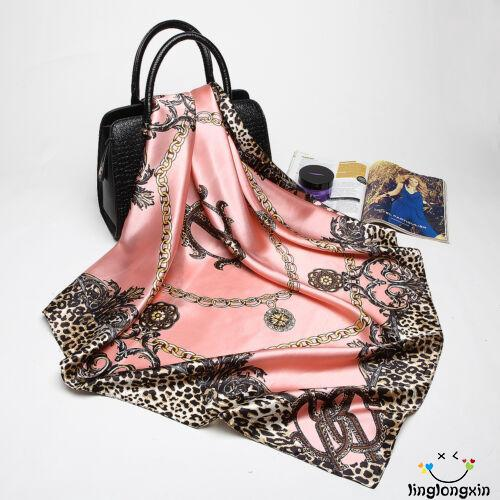 ➤GML5Colors Women Large Leopard Silk Satin Square Scarves Fashion Head Neck Shawl Wrap 35″ * 35″
