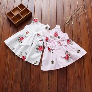 Đầm xòe không tay họa tiết thêu hoa phối nơ phong cách công chúa cho bé gái