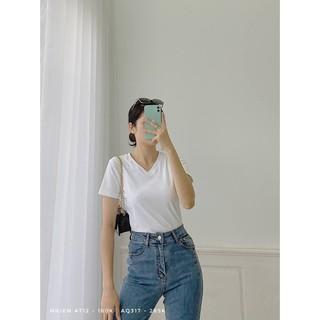 Áo thun nữ cổ tim Nhiên vintage phông trơn cộc tay kiểu basic AT12 thumbnail