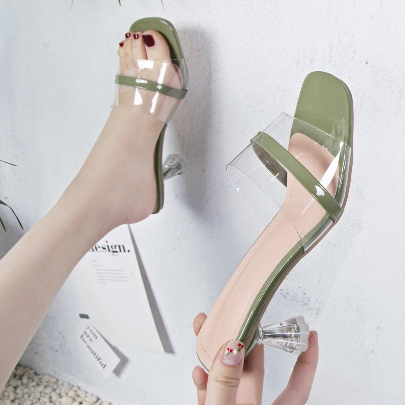 2019 summer women wear open toe one-shaped sandals transparent temperament wine glass high heels tid
