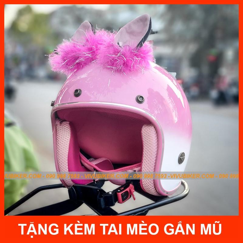 Tai mèo gắn mũ bảo hiểm 3/4 Thái Lan kèm nón bảo hiểm NTMAX - Tai thỏ - Sùng gắn mũ chính hãng