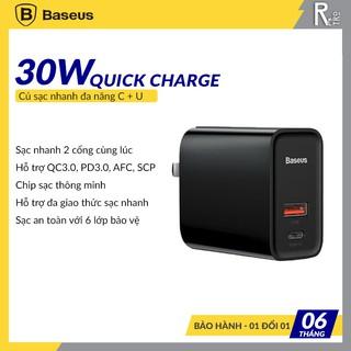Củ sạc nhanh 30W Baseus Speed Dual Quick charger dùng cho  iPhone/ iPad/ Samsung/ Huawei (2 Port, USB QC3.0 + Type C PD)