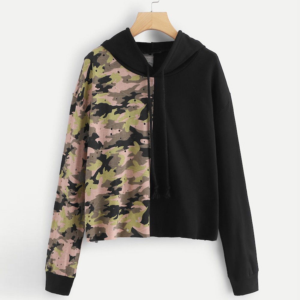 Women Daily Casual Camouflage Long SleeveSweatshirt Hooded Pullover Tops Blouse