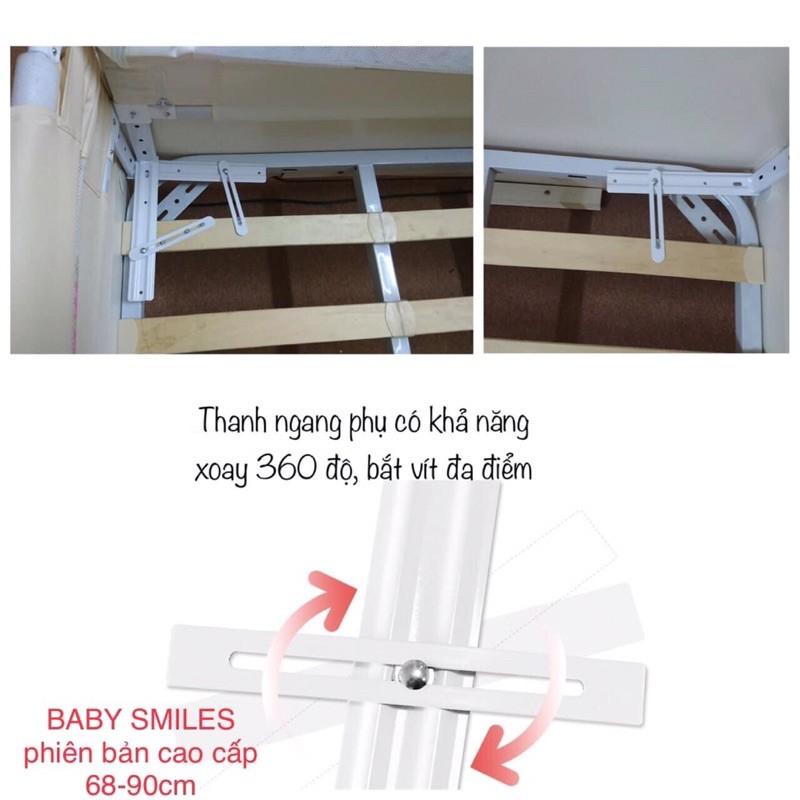 (HÀNG LOẠI 1)THANH CHẮN GIƯỜNG BABY SMILES HOẠ TIẾT THÊU NỔI 3D CAO CẤP MÀU GHI