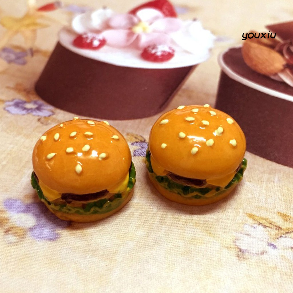 YOU-d 5Pcs Mini Resin Simulation Hamburger Fake Food Accessory Doll House Play Toys