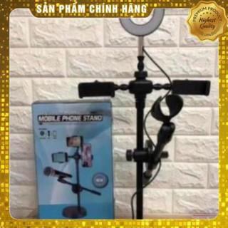 Đèn livestream kèm kẹp 2 điện thoại và kẹp mic