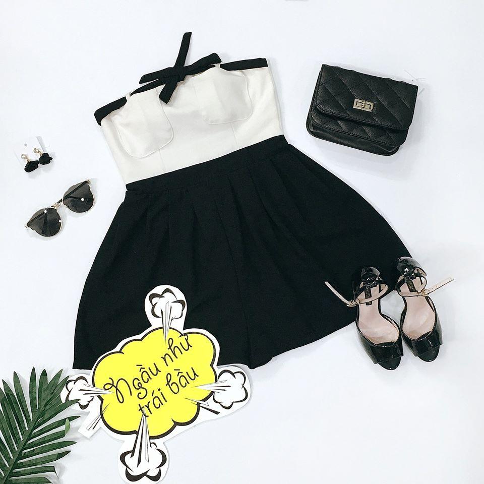 Đầm cúp ngực đen trắng