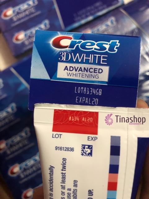 Kem đánh răng siêu trắng Crest 3D advanced 170g/158g