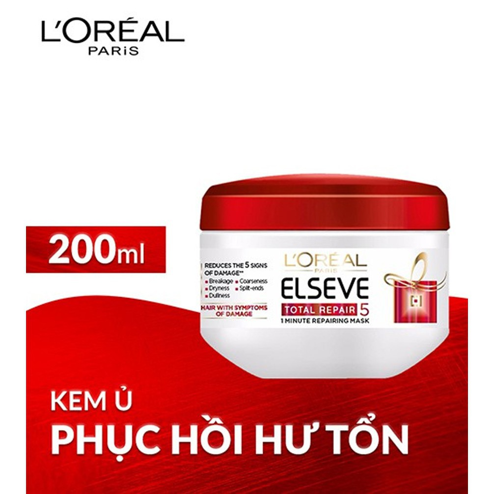 Kem ủ phục hồi tóc hư tổn LOreal Paris Elseve Total Repair 5 Repairing Mask  200ml | Shopee Việt Nam