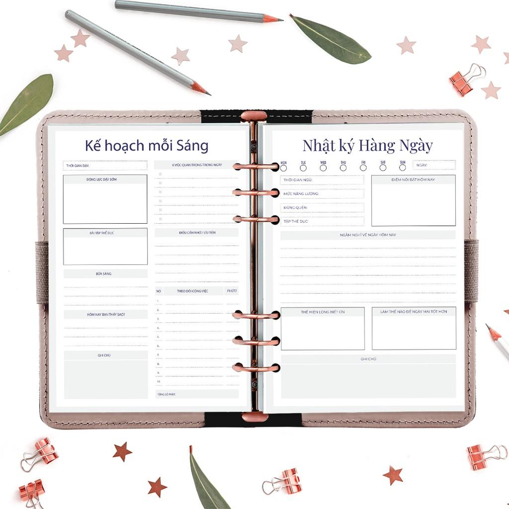 Giấy / Ruột sổ refill sổ còng 6 lỗ A5 lập kế hoạch 50 tờ, định lượng 100gsm của Self Planner (không kèm bìa)