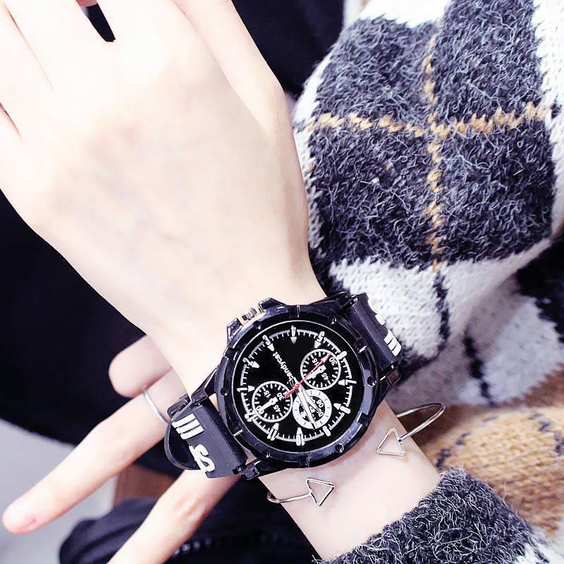 นาฬิกาข้อมือ Candy cat ins นาฬิกานักเรียนชายเวอร์ชั่นเกาหลีแฟชั่นที่เรียบง่ายผู้ชายส่องสว่างนาฬิกาคู่ดูของขวัญวันเกิด