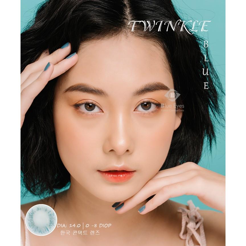 [Lens xanh dương tự nhiên] Kính áp tròng Hàn Quốc TWINKLE BLUE - Lens cận thời trang